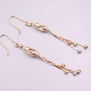 Au750 Real 18K Multi-tone Gold Earrings For Women Beads Chain Earrings Drop