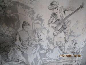 schöner alter Wandbehang Wandteppich Gobelin Biedermeier Motiv Galan mit Laute