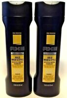 (2 Pack)  Axe - Gold Wash & Style Instant Control SHAMPOO, 12 oz each