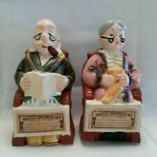 "New ListingVintage Retirement Piggy Banks Pr w/ Stoppers Ceramic approx 7½"" Tall"