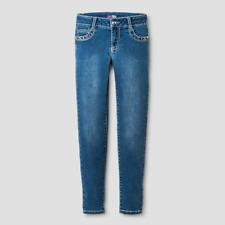 Girls First Skinny Knit Denim Jeans size 8 Super soft Rhinestone details