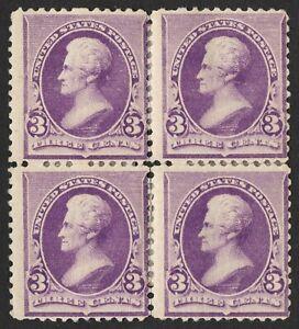 US # 221 *MINT OG H* { 3c PURPLE JACKSON RE-ATT BLOCK } BANKNOTE 1890 CV$ 270.00