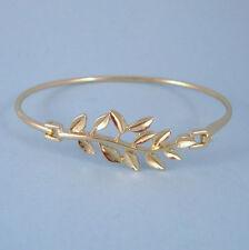 Olive Branch Designer Inspired Gold Bangle Bracelet Front Hook Open USA Seller