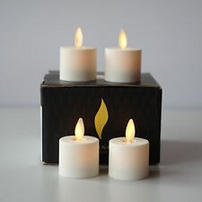 Luminara Flameless Ivory Tea Light Candles Unscented Moving Wick Remote Set of 4