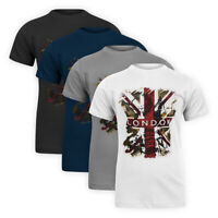 Men Classic Stretch Cotton Basic Tee Great Britain London Casual T-Shirt Top