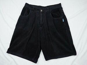 VTG 90s Men Interstate Black Wide Wale Corduroy Shorts 36 Extra Baggy Skate Y2K