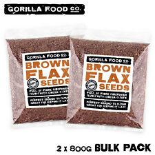 Gorilla Food Co. Brown Flax Seeds (Linseeds) - 1.6kg (2 x 800g Bulk Pack)