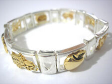 Piece Stretch Bracelet Item 3915 Silver Gold 2 Tone Metal