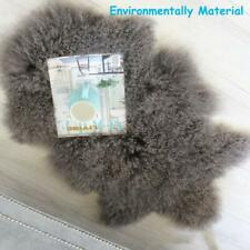 GENUINE LIGHT KHAKI TIBETAN MONGOLIAN FUR RUG SHEEPSKIN LAMBSKIN HIDE Fur THROW