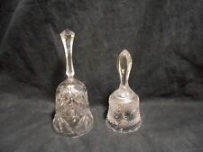 Lot of 2 Crystal Dinner Chime Bells Star of David Swirl & Hobnail Designs