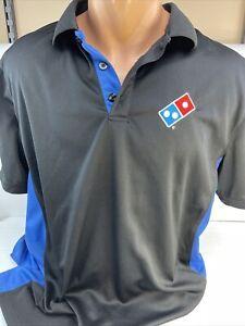 Dominos Pizza Gear Polo Shirt Mens Size Large Black Blue Work Employee Uniform