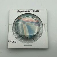 "Vtg Niagara Falls Celluloid 1-1/4"" Pin Pinback Colorful U. S. Canada Antique P3"