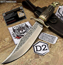 SFK CUTLERY HAND MADE D2 TOOL STEEL HUNTING  KNIFE- STAG ANTLER -FO-2646