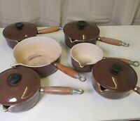 Le Creuset 6 x Brown Saucepan Set With 4 Lids