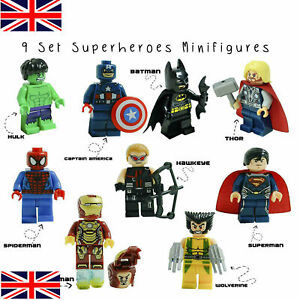 9 MARVEL LEGO FIT AVENGERS SUPER HEROES MINI FIGURES Superman Iron Hulk