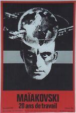 """""""MAÏAKOVSKI 20 ans de travail / EXPO 1975"""" Affiche originale entoilée 44x65cm"""