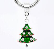 Plateado plata del rhinestone árbol de Navidad cuelgan granos Fit europeo encanto pulsera