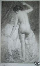 GASTON GERARD 1859-? GRAVURE EROTISME LA FEMME NUE AU BORD DU LIT EROTIQUE b