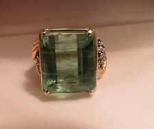 Huge 29 carat Rare Blue green Aquamarine & 1 ct Diamond 14k yellow gold ring 6.5
