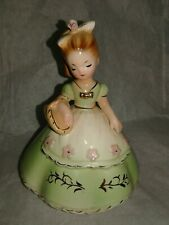 Vintage Girl Figurine Holding Basket Green Dress Pink Flowers