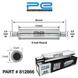 """2.5"""" 63mm 5"""" Round 14"""" Profusion 304 Stainless Steel Exhaust Silencer Resonator"""