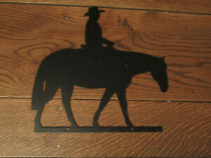 FIGURAL SILHOUETTE METAL HORSE AND RIDER SIGN OUTDOOR INDOOR COWBOY WESTERN