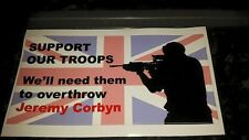 Support our troops, Overthrow Jeremy Corbyn Internal car sticker. Union Flag