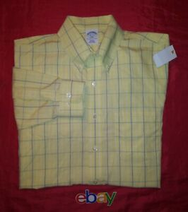 BROOKS BROTHERS SLIM FIT YELLOW BLUE Check BUTTON UP Dress Shirt 16 2/3 NEW