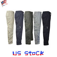 Men's Trousers Pants Zipper Cargo Pockets Overalls Casual Military Industry US