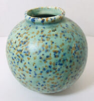 Japanese Pottery Vase Green With Gold & Cobalt Blue Specks Pottery Made In Japan