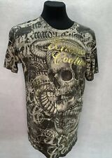Men's SZ L  XTREME COUTURE BY Tee SHIRT Graphic Snake SKULL Black, Gold & Tan