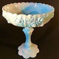 "FENTON SLAG GLASS COMPOTE BLUE & WHITE SWIRL CABBAGE ROSE 7 1/2"" VINTAGE"