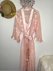 Oscar dela Renta Pink Label L XL Nightgown Set Robe Peignoir Coral Lace Nightie