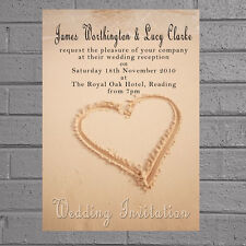 Beach Wedding Eve Day Reception Invitations x12 Heart in Peach Sand H0584
