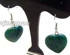 Sale Big 20mm Heart Green chrysocolla pendant Dangle earring silver 925-n5571