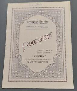 Covent Garden Opera Co Programme Feb1931 Liverpool Empire Carmen Enid Cruikshank