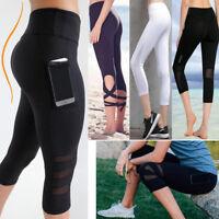 8aa0bc6322c9a Womens Capri YOGA Pants Workout Running Gym Sport Leggings Fitness Mesh  Cropped