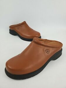 Ariat Women's Slip On Mule Clogs Tan Brown Leather Shoes US Size 10B