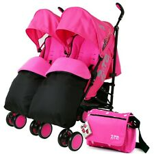 Double Pink Twin Stroller Pram Pushchair Buggy Inc Raincover Footmuff & Bag