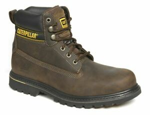 Caterpillar CAT Holton  Leather Safety Boots Steel Toe Brown Size 10