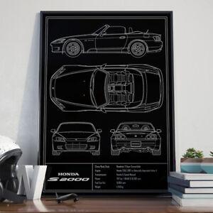 Honda S2000 AP1 JDM Blueprint Art Poster 17x24 inch size