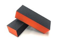 12pc Nail Buffer 3-Way Buffer Blocks 80/80/100 Black Grit Orange Sanding Blocks