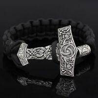 Norse Viking Knot Rune Beads Thor's Hammer Mjolnir Amulet Handmade Bracelet Mens