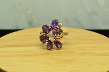 10K YELLOW GOLD AMETHYST CLUSTER RING BAND W/ DIAMONDS SIZE 8.75 #X10-1930