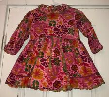 Oilily Girls Pink Floral Cotton Long Sleeve Dress Button Back sz 86 US 24 Months