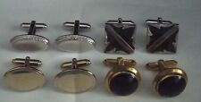 Set of four Men's Dress Shirt Wedding Cuff Links Silver Gold Tone Blue Stone