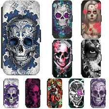 Candy Sugar Skull Calavera Tattoo Flip Phone Case Wallet Cover iPhone Samsung