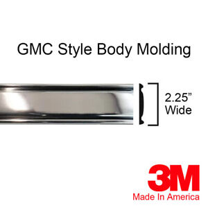 """Chrome Side Body Trim Molding Fits GMC C/K Truck Suburban 2.25"""" SOLD BY THE FOOT"""