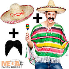 MEXICAN BANDIT Poncho + Sombrero + Tash Déguisement Ouest Sauvage Adultes Costume