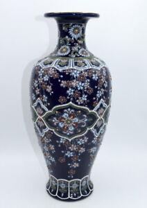 "ANTIQUE JAPANESE SATSUMA VASE ENAMEL FLOWERS 32. cm. 12"".1/2. Inch. TALL B"